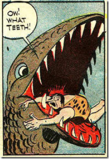 DinosaurwithcavemaninmouthDickBrieferYankeeLongago