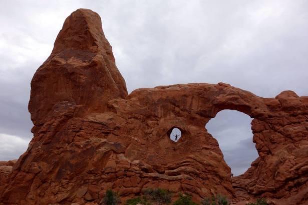 Climbing the sandstone